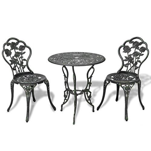 lingjiushopping Table et chaises Bistro de jard ¨ ªn 3 pièces vert aLUMINO fonte matérielle des pieds de la Table/chaise : fonte