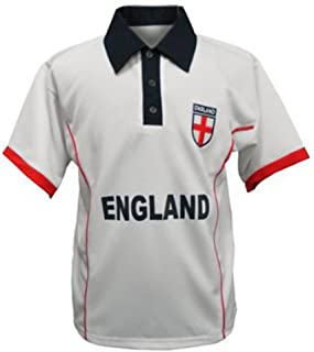 Activewear England Football Supporter Shirt White with Embroidered Logo Size Small to 5 XL