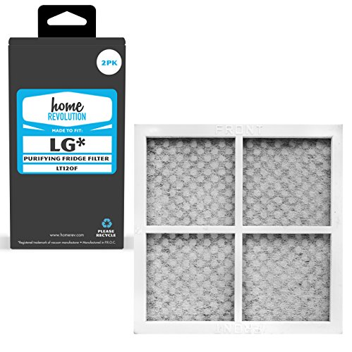 2 Home Revolution Replacement Refrigerator Air Filters, Fits Parts LG LT120F, ADQ73214404, ADQ73214408, Kenmore Elite CleanFlow # 9918