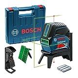 Bosch Professional Laser Combiné en Croix GCL 2-15 G (Laser Vert, pour l'intérieur, avec points d'aplomb, Portée : 15 m, 3 Piles 1,5 V , Support Rotatif RM 1, Cible Laser, Coffret de Transport)