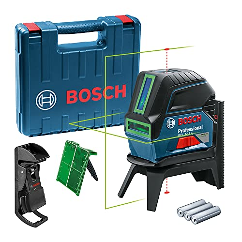Bosch Professional Nivel láser GCL 2-15 G (láser verde, interior, puntos de plomada, alcance: 15 m, 3 pilas de 1,5 V, soporte giratorio RM 1, placa reflectora de medida del láser, maletín)