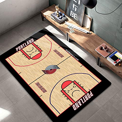 Trail Blazers Alfombras para adolescentes y niños regalos de baloncesto Alfombras dormitorio poliéster antideslizante hogar piso Mat para niños Grils sala de estar Blazers - 120 x 160 cm
