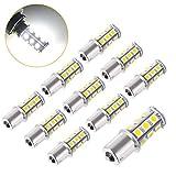 Super Bright 1156 1141/1003/1073/BA15S/7506 LED Replacement Light Bulbs 18 SMD 5050 LED Bulb for RV Camper SUV MPV Car Turn Tail Signal Brake Backup Light, DC 12V (White, 10 Pcs )