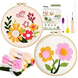 Pllieay 2 Set Punch Needle Embroidery Starter Kits Include Instructions, Punch Needle Fabric with Pattern, Yarns, Embroidery Hoops for Rug-Punch & Pinch Needle