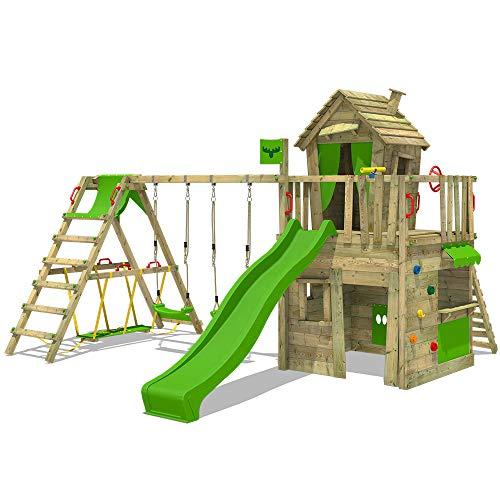 FATMOOSE Parque infantil de madera CrazyCat con columpio SurfSwing y tobogán manzana verde Casa de juegos de jardín con escalera para niños