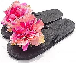 HYL World Women Summer Bohemian Flower Flip Flops Sandal Beach Flower Flat Slipper,Rose Red,L(7-7.5)
