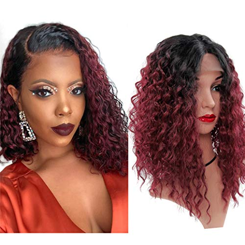 14inch Synthetic Lace Front Wig Short Curly Heat Resistant Glueless Bob style Lace Front Wig for Women (IB/Burgundy)