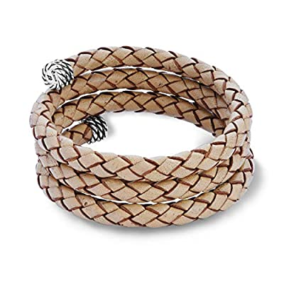 American West Sterling Silver Chambray Tan Braided Leather Wrap Bracelet