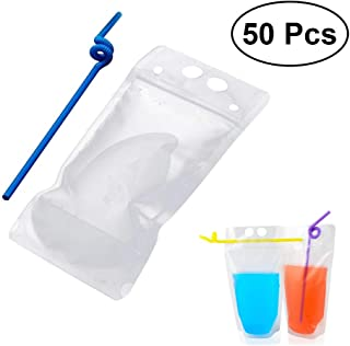 50pcs Drink Pouches disposable Drink Container Set -Juice bag water wine bottle freezer bag Reclosable Zipper Plastic Pouches Bags Drinking Bags with Colorful Straws(Transparent)