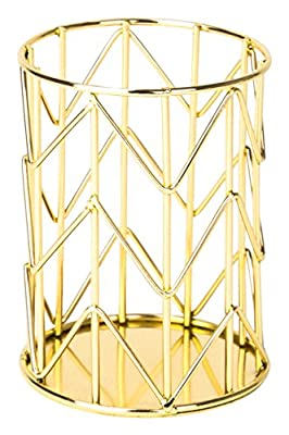 U Brands Pencil Cup, Wire Metal, Gold