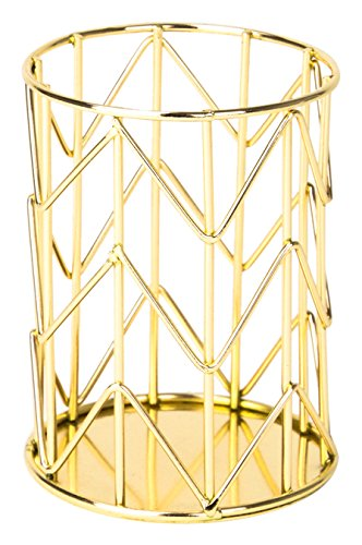 U Brands Pencil Cup, Wire Metal, Gold - 897U06-24
