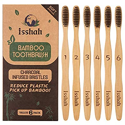 Isshah Bamboo Toothbrush ECO Friendly Organic Charcoal Infused BPA Free(Ultra Soft Bristles)?Pack of 6