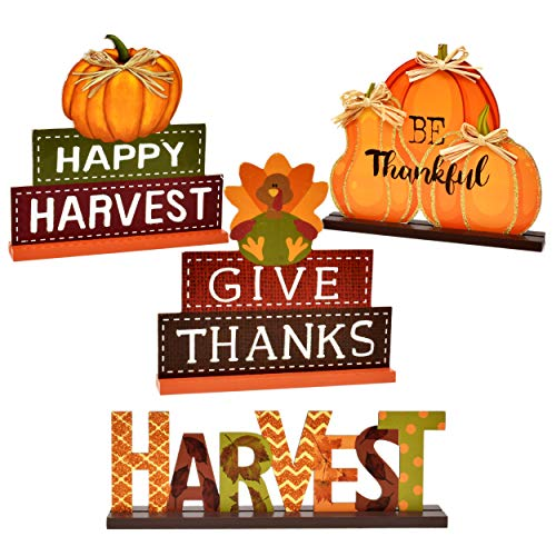 4 Thanksgiving Centerpiece Table Decor Fall Decorations Pumpkins Harvest Autumn Pumpkin Centerpieces for Home Kitchen Featuring Happy Fall Harvest Give Thanks for Indoor Desk Decoration