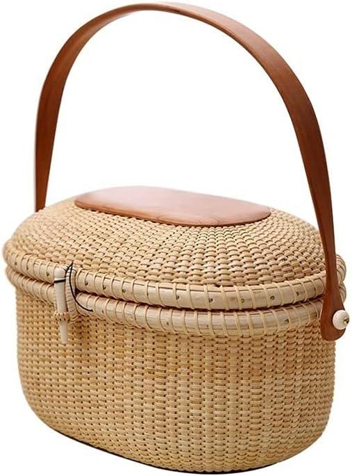 Rattan Picnic Basket 2-Person Seasonal Wrap Introduction Set Style Hamper shopping wit Rustic