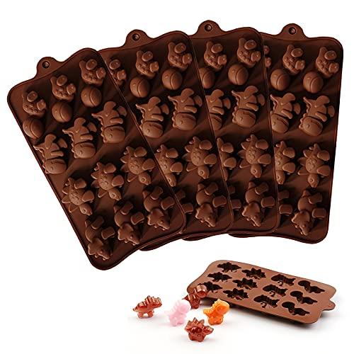 Molde de Chocolate Dinosaurio Mini Moldes De Caramelo de Chocolate de Silicona Bricolaje Molde de Silicona elástico Antiadherente DIY Reutilizables para Gelatina, Chocolate, Dulces, Muffin 5PCS