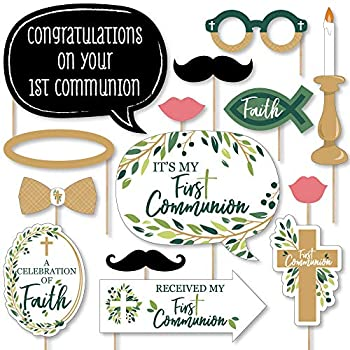 Big Dot of Happiness First Communion Elegant Cross - Religious Party Photo Booth Props Kit - 20 Count