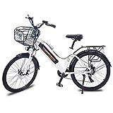 Gaoyanhang Bicicleta eléctrica de 26 Pulgadas - Motor 350W 36V10.4AH batería de Litio Marco de Aluminio E-Bike Bicicleta de montaña eléctrica 7 velocidades (Color : White)