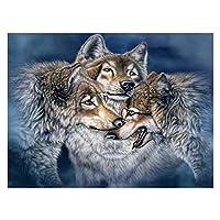 初心者アーティスト - 水彩アクリル塗料油絵クラフトの装飾ギフト - 雪のオオカミのための大人のロールキャンバスキットのための数字による塗料 (色 : 3 gray wolves, Size : 50x60cm)