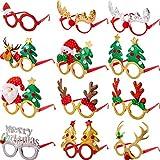 Boao 12 Pares Vasos de Navidad Monturas Gafas 3D Novedad Gafas de Fiesta de Navidad para Adultos Mujeres Fotos Fotografía Talla Única para Mayoría de Personas (Estilo B)