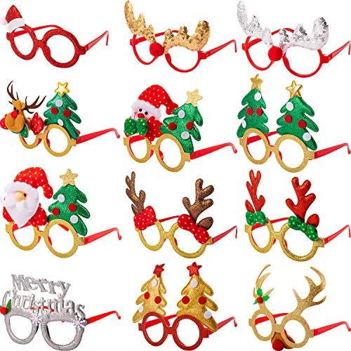 Boao 12 Paires Cadres de Lunettes de Noël 3D Lunettes de Nouveauté Lunettes d'Accessoires de Fête de Noël pour Photos d'Adultes Femmes Taille Unique Convient à la Plupart des Gens (Style B)