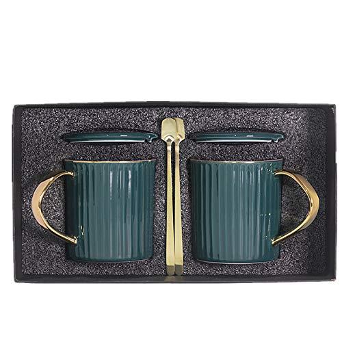 HRDZ Taza con Tapa Cuchara Colgante Oreja Taza de café Oficina Taza de Gran Capacidad Taza de Agua Simple y Fresca