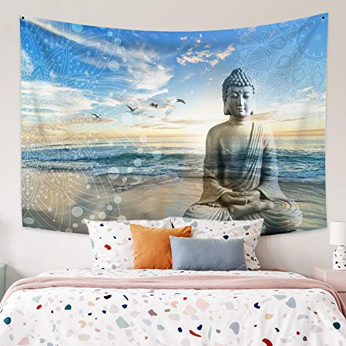 Leowefowas Beautiful Landscape Tapestry Meditaion Buddha Statue On Sea Beach at Sunset with Flying Birds Wall Tapestry Mandala Tapestry Wall Hanging Meditation Room Bedroom Dorm Decor 59.1'x51.2'