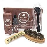 Ofanyia Kit de coupe de tonte de barbe Outils de soin de rouleau de croissance de barbe Ensemble de cadeaux pour hommes Styling Huile de conditionneur de barbe non parfumée