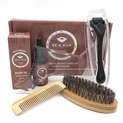 Kit de Soins Barbe, Kit de Barbe Complet Croissance, Rouleaux de Croissance de Barbe, Peigne en Forme de Barbe Transparente, Brosse à Barbe en Poils de Poignée en Bambou, Peigne en Bambou