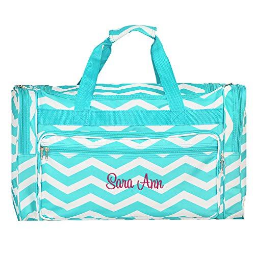 Personalized Aqua Chevron Overnight Duffle Bag 22'