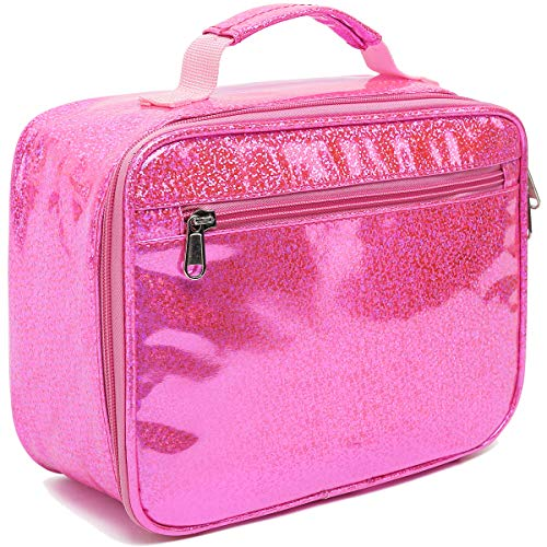 Girls Lunch bag Insulated Soft Box Mini Cooler Back to School Thermal Meal Tote Kit for Kids, Boys,Women,Men by FlowFly,Pink