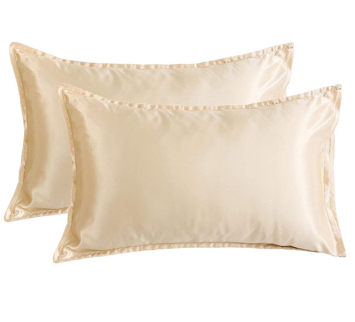 睡眠苦味記念碑LanJia サテン枕カバー スーパーソフト シルキーサテン ボディピローケース - 封筒式開閉 Standard/Queen Size ブラウン