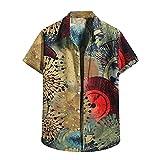 ZAIZAI Summer Hombres Hawaiian Shirt Cool Cardigan Manga corta de la playa Hawaiana Camisa de la flor de los hombres Camisa de cuello alto (Color : Brown, Size : M code)