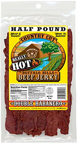 Buffalo Bills 8oz Double Habanero Country Cut Beef Jerky Pack (moist & tender really hot beef jerky)