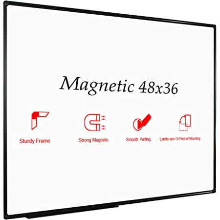 JILoffice Magnetic Whiteboard / White Board, Dry Erase Board 48 x 36 Inch, Black Aluminum Frame Wall Mounted Board for Office Home and School