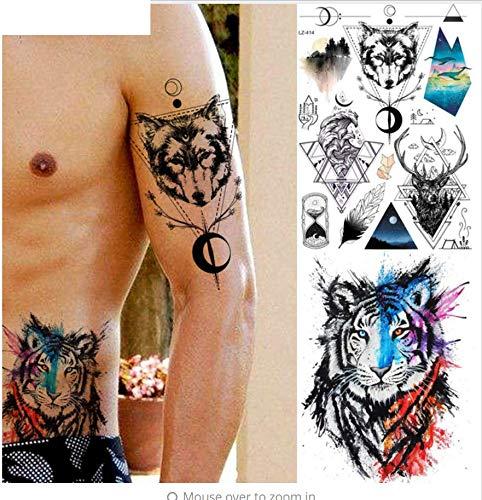 ruofengpuzi Adesivo tatuaggioElk Geometría Lobo Pluma Tatuaje ...