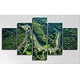 5 paneles Nurburgring Rally Track Circuit Racing HD Posters Wall Art Canvas Pictures HD Pinturas Decoración para el hogar Sala de estar 150x80cm con marco