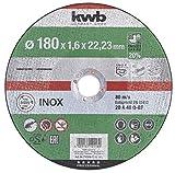 kwb 712118 AKKU-Top-Disco de Corte extrafino (180 mm de Velocidad, 180 x 1,6, para Amoladora Angular de Acero Inoxidable y Metal, Orificio de 22,23 mm), 180x1,6
