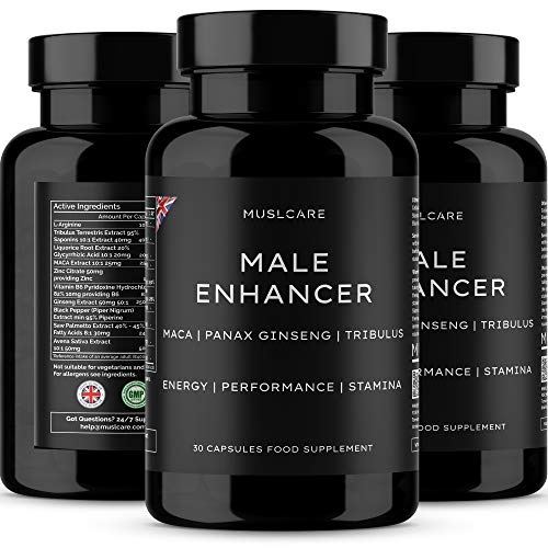 Muslcare Enhancing Pills for Men - 30 Capsules with MACA Root, Korean Panax Ginseng, Tribulus Terrestris, L-Arginine, Saw Palmetto - Male Enhancement Supplement for Performance, Energy and Stamina