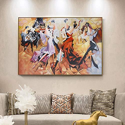 Leinwandbild, abstraktes Bankett, Dame, Party, Karneval, Klavier Mittelalter, Poster für Wohnzimmer, Gang, Heimdekoration, Wandkunst, 30 x 40 cm (ohne Rahmen)