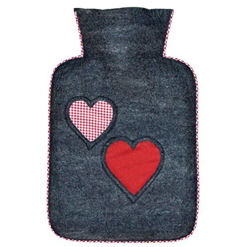 Preisvergleich Produktbild Hugo Frosch Wärmflasche Klassik 1, 8 L mit Filzbezug Herzen