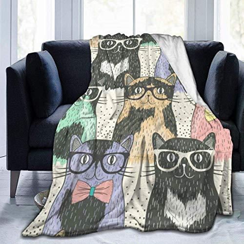 MODORSAN Gafas de Colores Manta de Tiro para Gatos Super Suave y cómoda Micro 50'x40' Manta de vellón difuso Manta Decorativa Manta Ligera y acogedora para sofá Cama