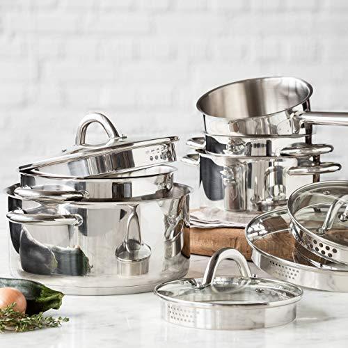 Lot de Casseroles pour Induction 5 pièces, Lot d'ustensiles de cuisine en acier inoxydable chromé, couvercles en verre adaptés avec purge à vapeur et verseur -