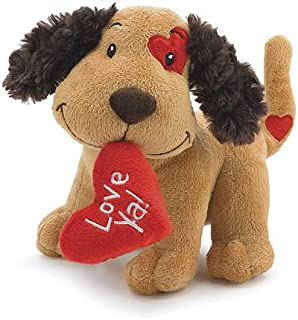 2PO Cute Plush Fetching Dog with Love Ya Red Heart Shaped Pillow 8""