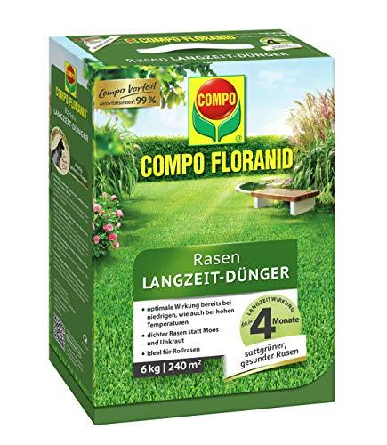 COMPO FLORANID Rasen Langzeit-Dünger, 4 Monate Langzeitwirkung, Feingranulat, 6 kg, 240 m²