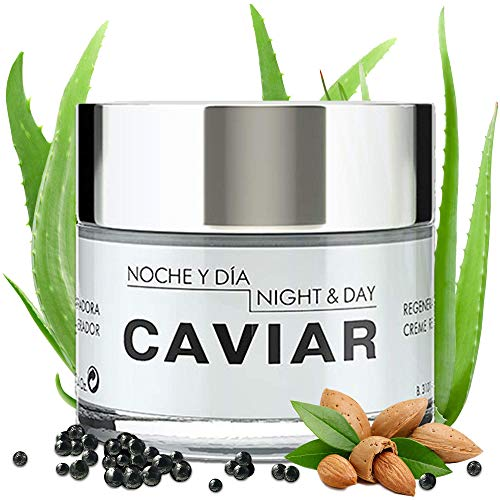 Noche Y Dia Caviar Face Cream - Sturgeon Caviar & Aloe Vera - Daily Anti-Aging Moisturizer To Reduce Appearance Of Fine Lines, Blemishes, Discoloration & Wrinkles & Collagen Booster - 2.4 fl oz