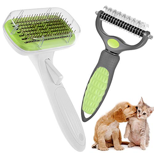 2Pcs Pet Dematting Comb Grooming Tool &Cat Brush, Pet Grooming Brush Dog Brush, Professional Dematting and Shedding Brush Use to Clean Loose Fur &Detangling Dirt for Dogs and Cats with Long/Short Hair