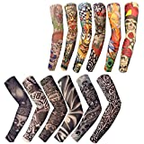 12 PCS Temporary Tattoo Sleeves for Men Women Seamless,Arts Arm Sunscreen Fake Piercings Tattoos Cover Up Sleeves,Designs Tiger, Crown Heart, Skull, Tribal,Etc Unisex Stretchable Cosplay Accessories