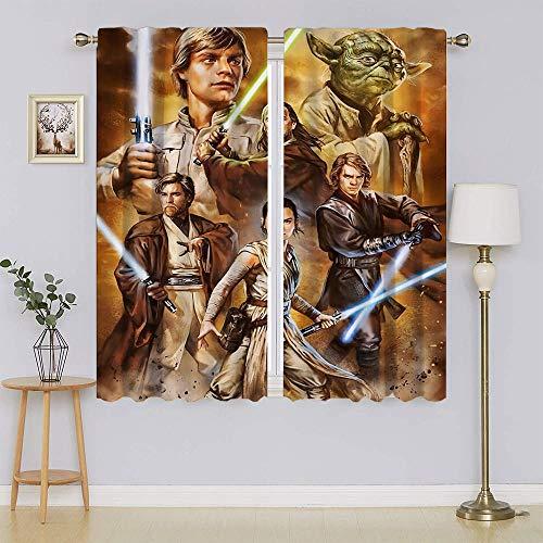 Cortinas opacas de Star Wars, con ojales y aislamiento térmico para mantener la habitación caliente para sala de estar o dormitorio (55 x 45 pulgadas)