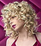 ELIM Blonde Curly Wigs for Black Women 14'' Short Afro Kinky Wig with Natural Bangs, Fashion Cute Big Bouncy Synthetic Hair Replacement Wig for Daily Party Z014K