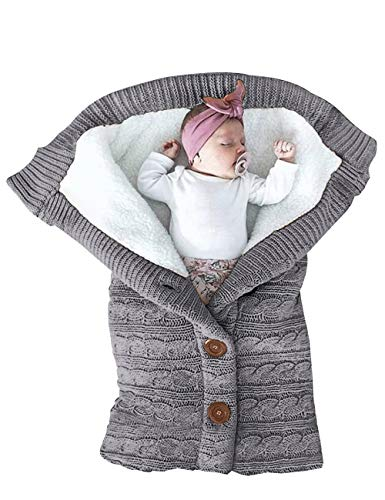 XMWEALTHY Unisex Infant Swaddle Blankets Soft Thick Fleece Knit Baby Girls Boys...